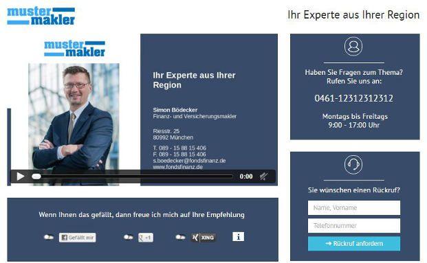 Ein Screenshot des Maklermovie-Programms, welches Vermittlern und Maklern neue Perspektiven für die Kundenbindung eröffnen soll. Screenshot: Fonds Finanz