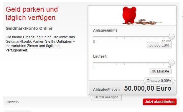 Screenshot des Angebots der Sparkasse Traunstein-Trostberg