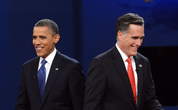 Barack Obama und Mitt Romney. Am 6. Oktober 2012 entscheidet sich, wer von beiden die kommenden vier Jahre im Oval Office verbringen darf. Romney stellte sich im Wahlkampf als Wirtschaftsexperte dar. Foto: Getty Images