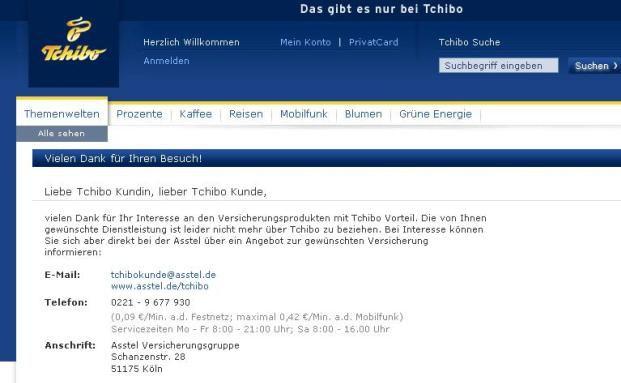 Screenshot der Tchibo-Seite, auf der der Kaffeeröster das Einstellen des Versicherungsgeschäfts bekannt gibt