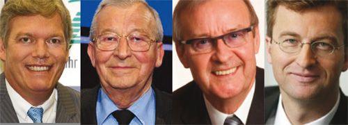 v.l.: Manfred Behrens (AWD); Reinfried <br>Pohl  (DVAG), Wilfried Kempchen (OVB)<br>und Uwe Schroeder-Wildberg (MLP)