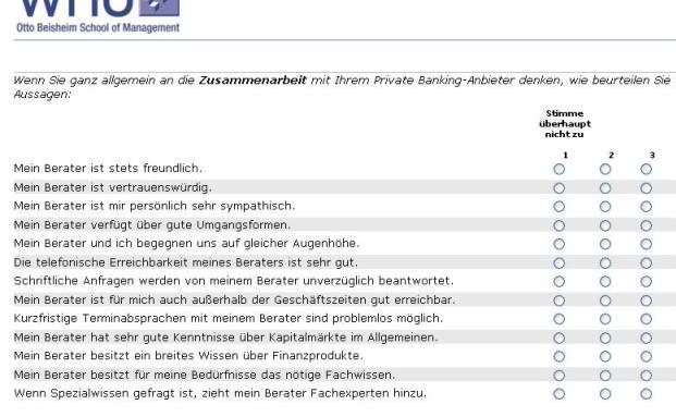 Auszug aus dem Fragebogen der WHU. Die Befragung soll den <br>Service des Private Banking verbessern helfen. Quelle: Fotolia