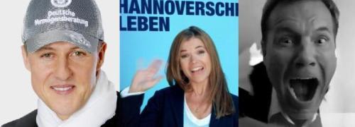 Michael Schumacher, Anke Engelke und Dieter <br>Bohlen im Werbeeinsatz; Quellen: DVAG, <br>Hannoversche Leben, Youtube/VHV