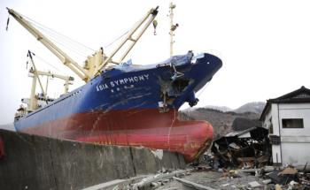 Der Frachter M.V. Asia Symphony wurde vom Tsunami<br>mitgerissen. Die 17 Besatzungsmitglieder konnten<br>sich retten und blieben unverletzt. Foto: Getty Images