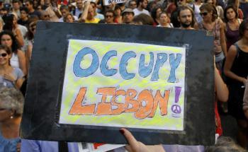 Protest in Lissabon: Auch vor dem gebeutelten Portugal macht <br> die Bewegung Occupy... nicht halt, Quelle: Getty Images