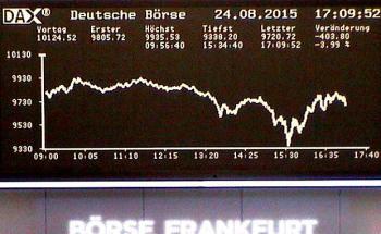 Der Dax verlor heute zeitweise um 7,8 Prozent oder 786 Zähler bis auf 9338 Punkte / Foto: Live-Cam Deutsche Börse
