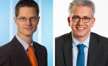 Andreas Wimmer (l.) ist Vorstand für den Firmenkundenbereich der Allianz Lebensversicherung.  Tarek Al-Wazir ist hessischer Wirtschaftsminister und Grünen-Politiker.