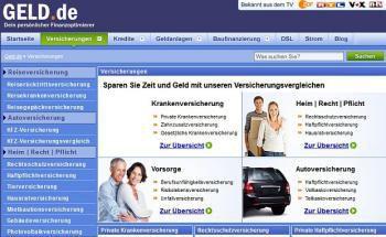 Screenshot der Internetseite von Geld.de
