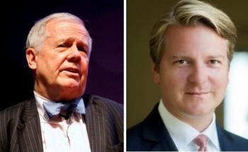 Rohstoff-Guru Jim Rogers (li.) und Lars Edler von Sal. Oppenheim. Bildquellen: Getty Images, Sal. Oppenheim