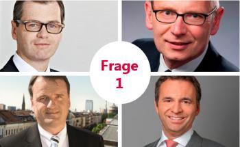 Hochkarätige Steuerexperten äußern sich zur Abschaffung der Abgeltungssteuer: Heiko Wunderlich, Partner bei SKW Schwarz Rechtsanwälte (oben rechts), Thomas Zacher, Fachanwalt für Steuerrecht und Gründungspartner der Kanzlei Zacher & Partner (oben rechts), Michael Bormann, Gründungspartner und Steuerexperte von bdp Bormann Demant & Partner (unten links), Ingo Kleutgens, Partner der Kanzlei Mayer Brown (unten rechts)