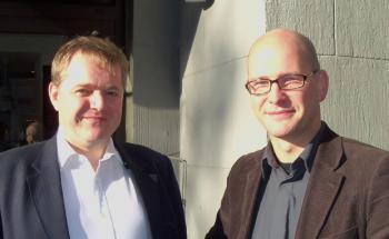 Peter Allwright (li.) traf DAS-INVESTMENT.com-Redakteur<br>Andreas Scholz in Hamburg