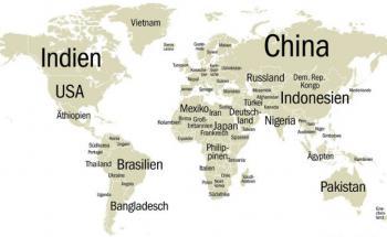 So sieht die Welt aus, wenn die größten Völker in die Länder <br> mit der größten Fläche umziehen. Der kanadische Blogger <br> John Palmer hat das auf der Website reddit.com einmal <br> durchgespielt. Quelle: Wikipedia/John Palmer, Karte: Fotolia