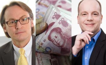 Von links: Rolf Kazmaier von der SVA Vermögensverwaltung; Yuan, Quelle: Getty Images; Andreas Görler von Wellinvest - Pruschke & Kalm
