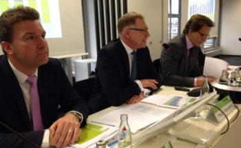 Jahrespressekonferenz des BVI: Frank Bock, Präsident Holger Naumann, Hauptgeschäftsführer Thomas Richter (v. li.). Foto: Iris Bülow
