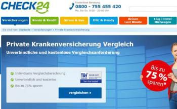 Online-Vergleichsportal Check24 (Screenshot) bietet unter anderem Versicherungsvergleiche an: Nach Ansicht der Länder müsste das Portal seine Provisionen offenlegen