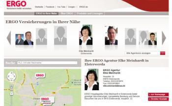 Screenshot des Beraterportals der Ergo: 6.000 Adressen seiner Vertriebspartner hat der Versicherer hier zusammengetragen. Quelle: Ergo