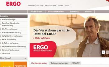 Screenshot der Ergo-Homepage