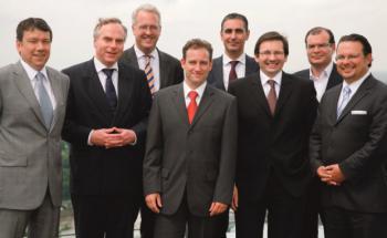 Die Teilnehmer am Roundtable (v. li.): Klaus-Dieter Erdmann, <br> Johannes Hirsch, Georg von Wallwitz, Markus Kaiser, <br> Gerd Häcker, Gökhan Kula, Martin Stürner und Stefan Ferstl