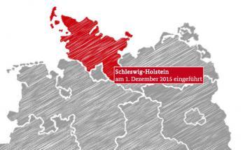 Eine Teilaufnahme der interaktiven Landkarte zum Stand der Umsetzung der Mietpreisbremse in den Bundesländern. Grafik: Bundesministerium der Justiz und für Verbraucherschutz Internetredaktion des Referats Öffentlichkeitsarbeit.
