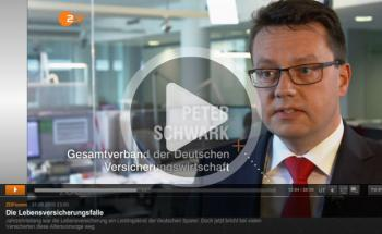 GDV-Mann Peter Schwark im Gespräch mit dem ZDF: Dort erklärt er, dass die sinkenden Zinsen vor allem für die sinkenden Ablaufleistungen verantwortlich sind. Foto: Screenshot ZDF