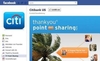 Screenshot der Facebook-Seite von Citibank