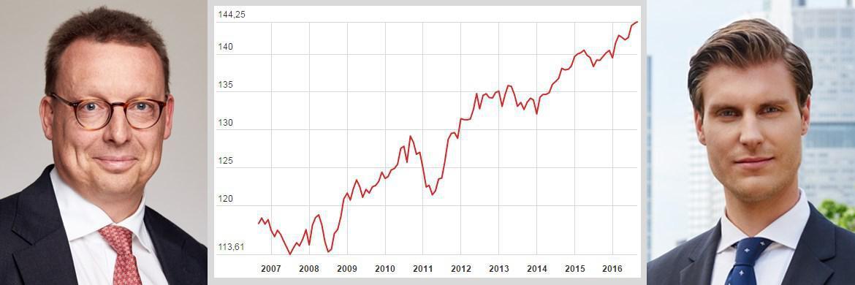 Nicht nur bei deutschen Bundesanleihen, wie hier am Rentenmarktindex Rex P (M.) dargestellt, sind immer weiter steigende Kurse und damit einhergehend sinkende Renditen zu verzeichnen. Welche Marktsegmente derzeit besonders ungünstig erscheinen, erklären unter anderem Claude Hellers, Leiter Retail- und Wholesale-Vertrieb bei Fidelity International (l.), und Daniel Lösche, Investment Analyst bei Schroders.