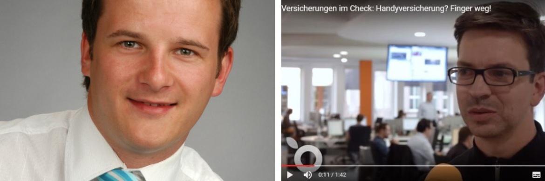 Versicherungsvermittler Sven Hennig (li.), Screenshot des Handelsblatt-Videos mit Martin Dowideit