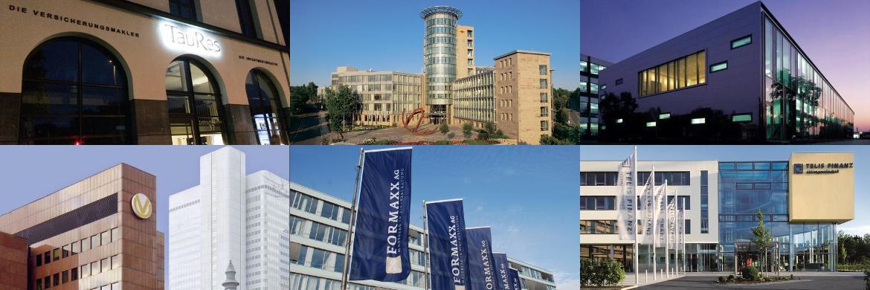 Die Gebäude von sechs der zehn Arbeitgeber mit den besten Noten für Vorgesetztenverhalten.