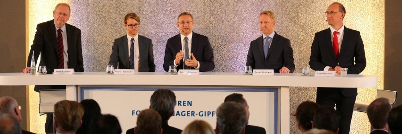 Peter E. Huber, Nicolas Schmidlin, Eckhard Sauren, Bernd Ondruch und Olgerd Eichler (v. li.)|© Sauren