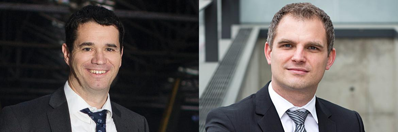 Oliver Pradetto, Geschäftsführer bei Blaudirekt (l.), und Jan Dinner, Geschäftsführer bei Insuro Maklerservice
