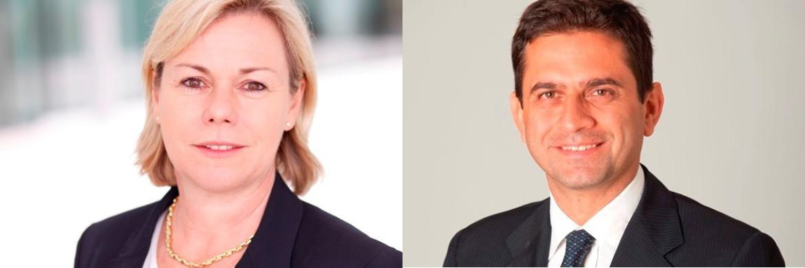 Evi C. Vogl (links), Deutschlandchefin von Pioneer Investments und Cosimo Marasciulo (rechts), Head of European Government Bonds bei Pioneer Investments