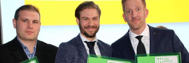 Die glücklichen Gewinner (von links): Matthias Fischer, Wolfgang Fischer Versicherungsmakler (Platz 3), Andreas Küffner, S5 - Die Finanzpartner (Platz 1) und Dirk Becht, DIVM Deutsche Immobilien Versicherungsmakler (Platz 2).