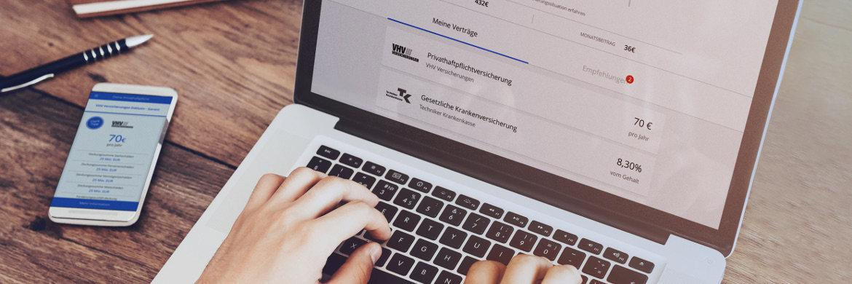 Web- und App-Angebot des digitalen Versicherungsmaklers Clark