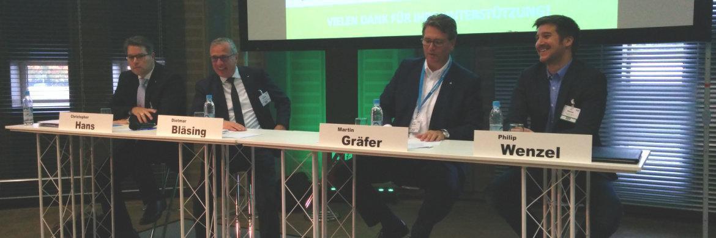 Von links: Christopher Hans (Elips Life), Dietmar Bläsing (Volkswohl Bund), Martin Gräfer (die Bayerische) und Philip Wenzel (Freche Versicherungsmakler)|© Svetlana Kerschner