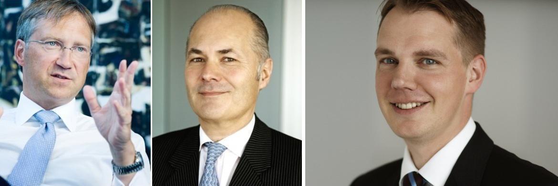 Stephan Fritz, Multi-Asset-Spezialist bei Flossbach von Storch (re.), mit den Firmen-Gründern Bert Flossbach (li.) und Kurt von Storch (Mi.)