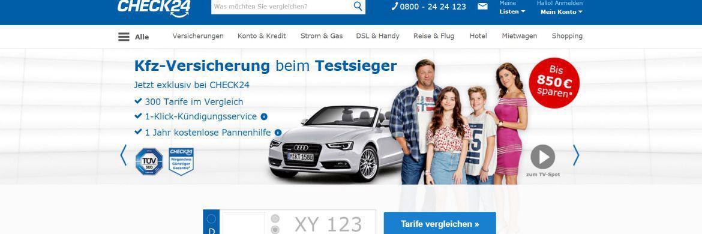 BVK gegen Check24: Provisionen: Grüne wollen Vergleichsportale zur Transparenz zwingen|© Screenshot der Check24-Homepage