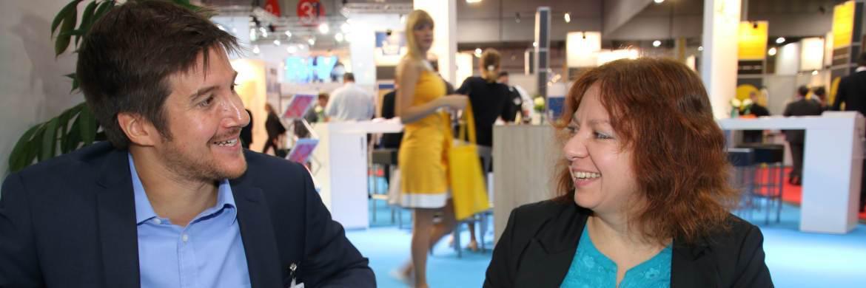 Philip Wenzel im Gespräch mit DAS-INVESTMENT-Redakteurin Svetlana Kerschner auf der DKM 2016|© Oliver Lepold