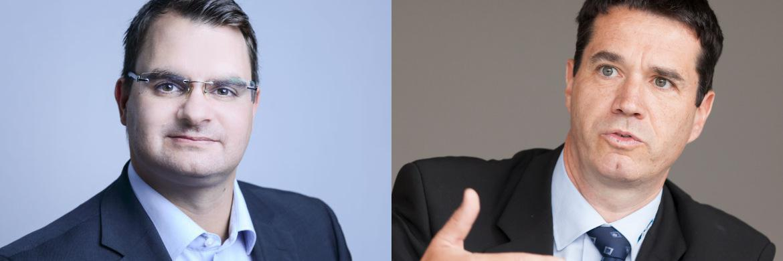 Patrick Ziegler, Verwaltungspräsident des neuen Start-ups MyLucy (l.) und Oliver Pradetto, Geschäftsführer des Maklerpools Blaudirekt|© Foto rechts: Florian Sonntag