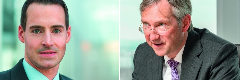 Fondsmanager Tim Albrecht (li.) von DeAM und Bert Flossbach von Flossbach von Storch: Ihre Fonds zählen zu den beliebtesten Produkten im BVI-Ranking|© Jürgen Bindrim