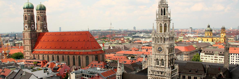 Die Münchener Innenstadt von oben: Axa verklagt die Stadt München wegen