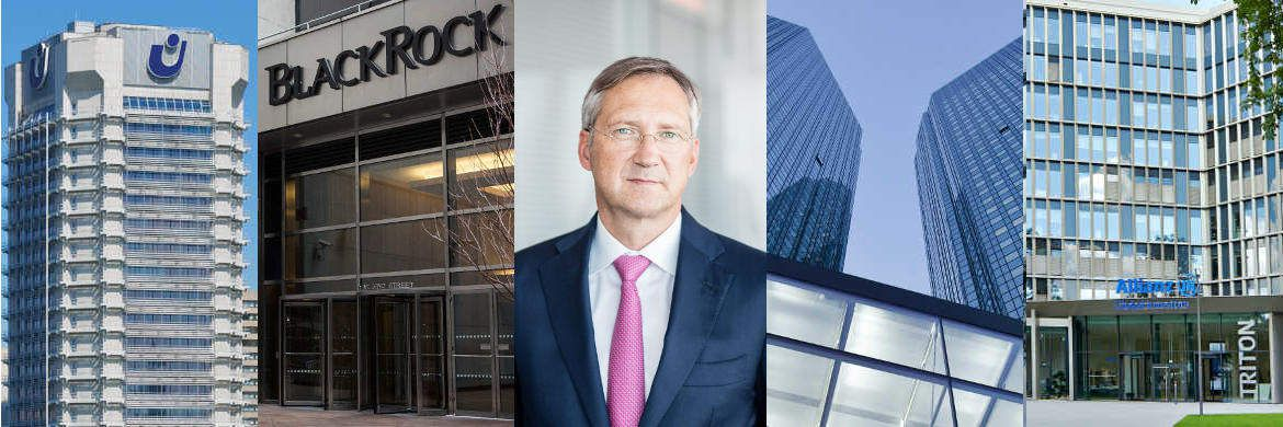 Bert Flossbach (Mitte) und die Firmensitze von Union Investment, Blackrock (Foto: Getty Images), Deutsche Bank und Allianz Global Investors (v.l.)