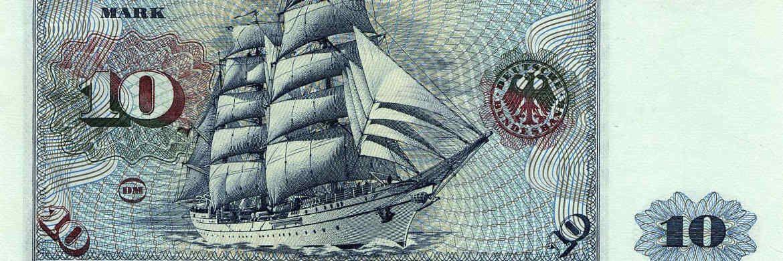 Das Segelschulschiff Gorch Fock zierte den alten 10-Mark-Schein.|© Bundesbank
