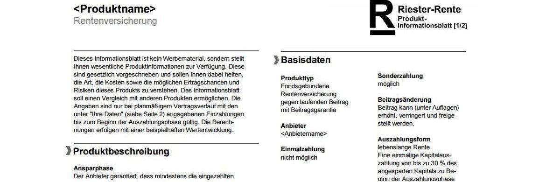 Fragment eines Muster-Beipackzettels für Riester- und Rürup-Produkten|© GDV