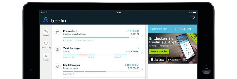 Die Treefin-App auf einem Tablet