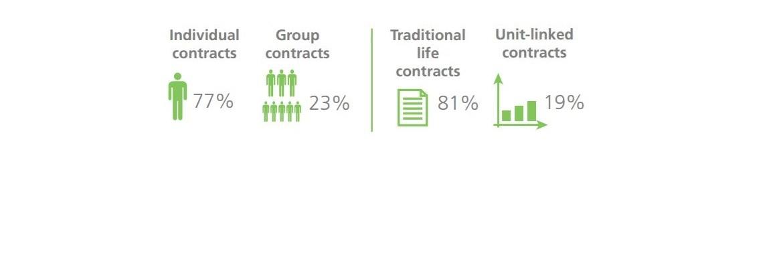 Die Relation zwischen Einzel- und Gruppenverträgen sowie zwischen traditionellen und fondsgebungenen Versicherungen|© Insurance Europe
