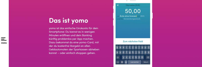Screenshot der Yomo-Website