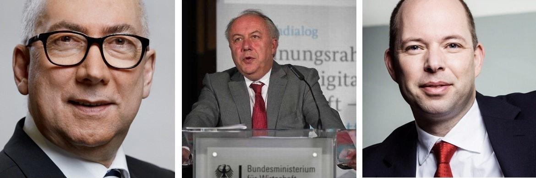 Gerd Billen, Staatssekretär beim Justiz- und Verbraucherschutz-Ministerium (BMJV), Matthias Machnig, Staatssekretär beim Wirtschaftsministerium (BMWi), Axel Wehling, GDV-Geschäftsführungs-Mitglied (v. li.)|© BMJV, BMWi, GDV