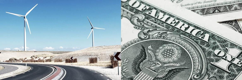 Windkraftanlage und 1-US-Dollar-Note|© unsplash.com (l.), pixabay.com
