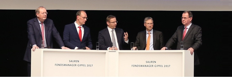 Peter E. Huber, Olgerd Eichler, Eckhardt Sauren, Bert Flossbach und Klaus Kaldemorgen (v. li)|© Sauren Fonds Service