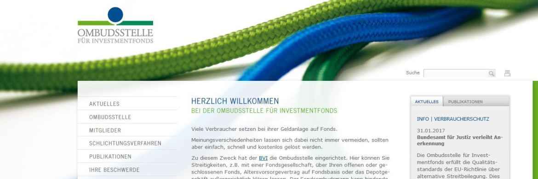 Ombudsstelle des BVI: Screenshot der Internetseite